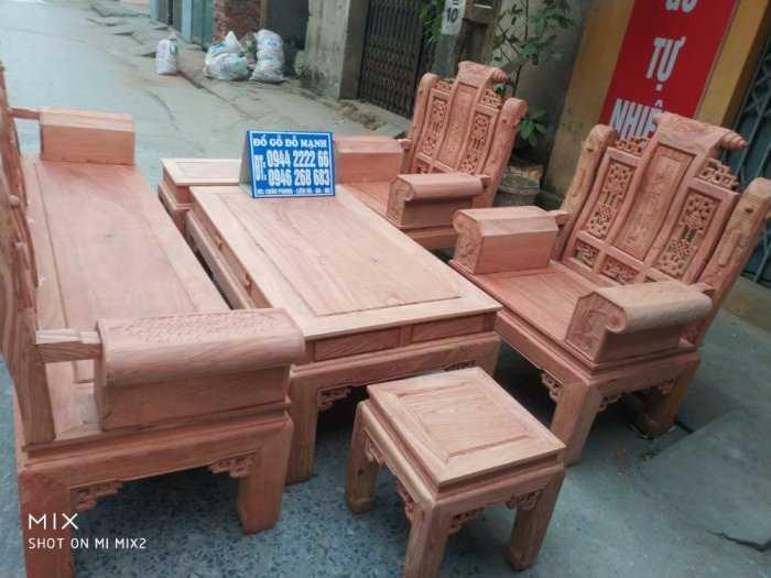 Bộ bàn ghế Âu Á hộp kiểu cuốn thư gỗ hương đá5