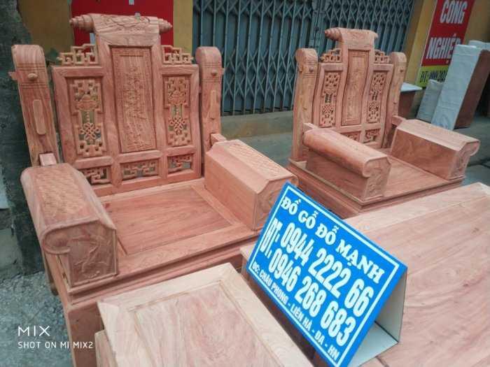 Bộ bàn ghế Âu Á hộp kiểu cuốn thư gỗ hương đá3