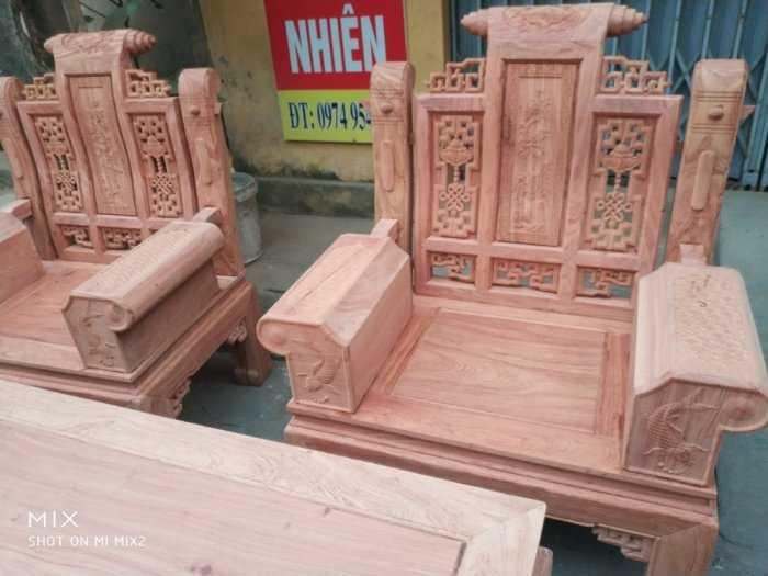 Bộ bàn ghế Âu Á hộp kiểu cuốn thư gỗ hương đá2