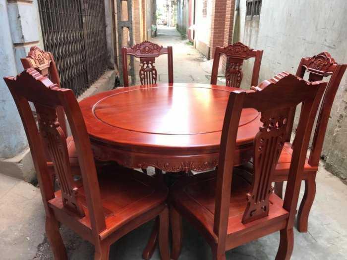 Bộ Bàn Ghế Phòng Ăn Kiểu Bàn tròn - gỗ xoan đào2