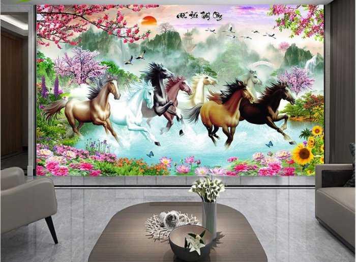 Tranh ngựa- gạch tranh 3D bát mã1