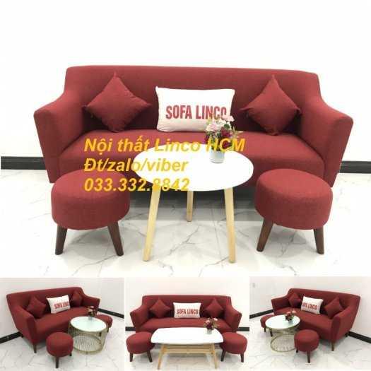 Bộ bàn ghế Sofa băng văng dài SFBg02 đỏ giá rẻ phòng khách Nội thất Linco Tphcm Sài Gòn quận gò vấp, tân bình, tân phú4