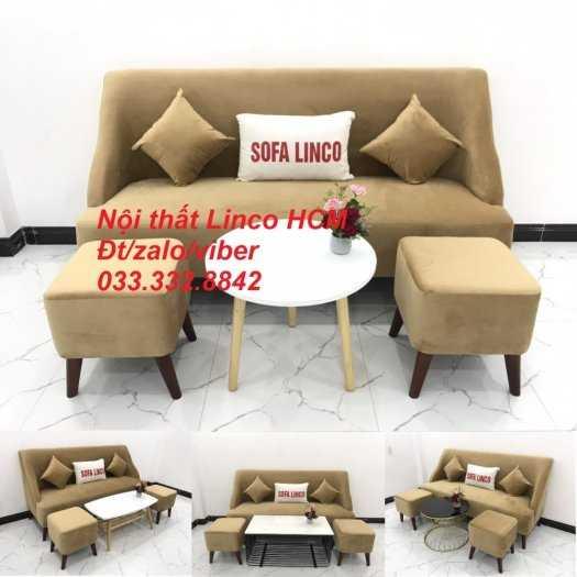 Bộ bàn ghế Sofa băng văng dài SFBg04 màu nâu sữa giá rẻ Nội thất Linco Tphcm Sg HCM Sài Gòn quận bình thạnh, gò vấp, hóc môn, củ chi4