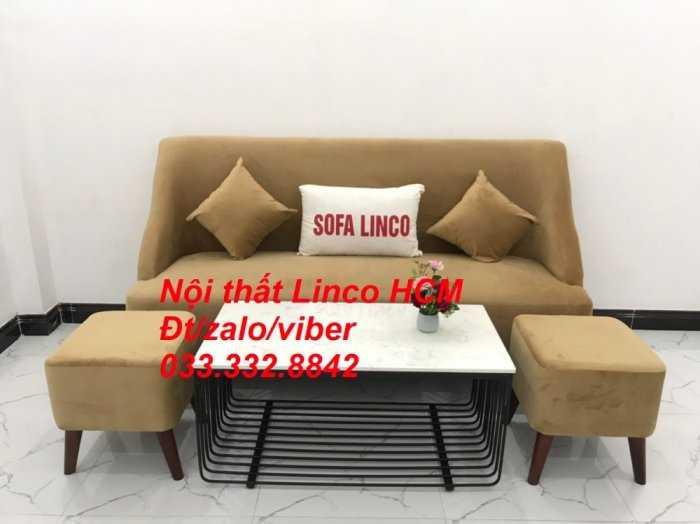 Bộ bàn ghế Sofa băng văng dài SFBg04 màu nâu sữa giá rẻ Nội thất Linco Tphcm Sg HCM Sài Gòn quận bình thạnh, gò vấp, hóc môn, củ chi2