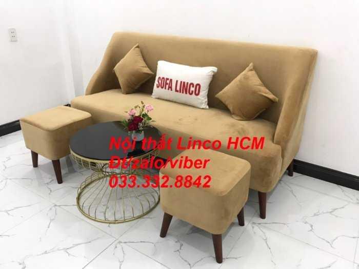 Bộ bàn ghế Sofa băng văng dài SFBg04 màu nâu sữa giá rẻ Nội thất Linco Tphcm Sg HCM Sài Gòn quận bình thạnh, gò vấp, hóc môn, củ chi1