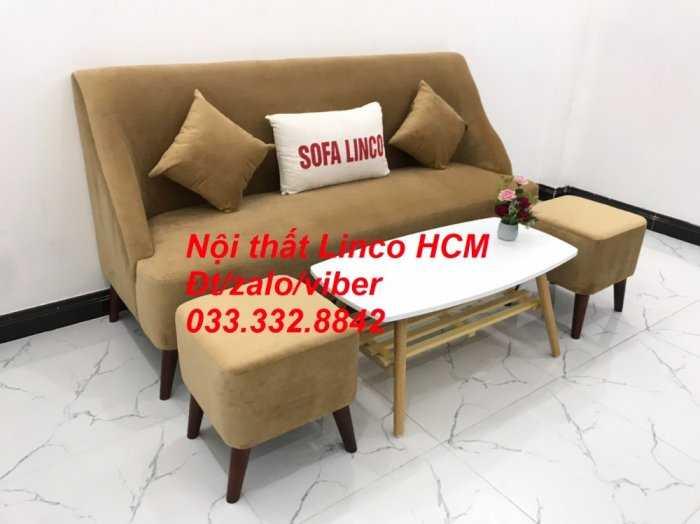 Bộ bàn ghế Sofa băng văng dài SFBg04 màu nâu sữa giá rẻ Nội thất Linco Tphcm Sg HCM Sài Gòn quận bình thạnh, gò vấp, hóc môn, củ chi0