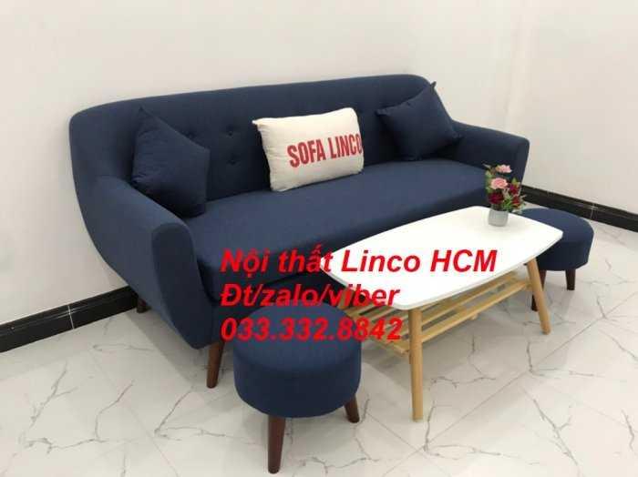Bộ bàn ghế Sofa băng SFBg10 xanh dương đậm Nội thất Linco Tphcm Sài Gòn HCM, quận tân phú, thủ đức, quận 2 9 cần giờ0