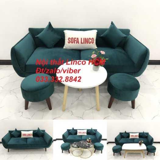 Bộ bàn ghế Sofa băng SFBg12 xanh nhung giá rẻ Nội thất Linco Tphcm Sài Gòn quận tân bình, bình tân, tân phú, phú nhuận4