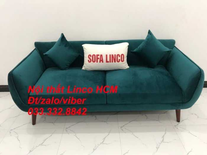 Bộ bàn ghế Sofa băng SFBg12 xanh nhung giá rẻ Nội thất Linco Tphcm Sài Gòn quận tân bình, bình tân, tân phú, phú nhuận3
