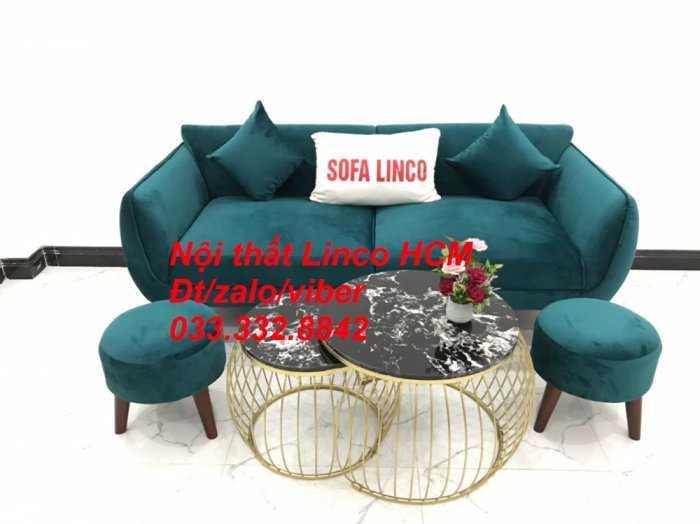 Bộ bàn ghế Sofa băng SFBg12 xanh nhung giá rẻ Nội thất Linco Tphcm Sài Gòn quận tân bình, bình tân, tân phú, phú nhuận2