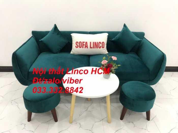 Bộ bàn ghế Sofa băng SFBg12 xanh nhung giá rẻ Nội thất Linco Tphcm Sài Gòn quận tân bình, bình tân, tân phú, phú nhuận1