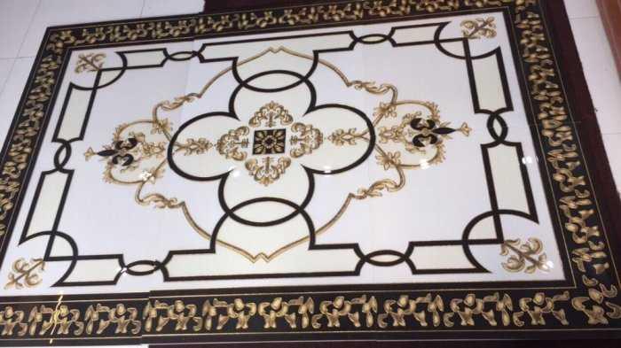 Gạch thảm phòng khách, gạch trang trí hoa văn 3d1