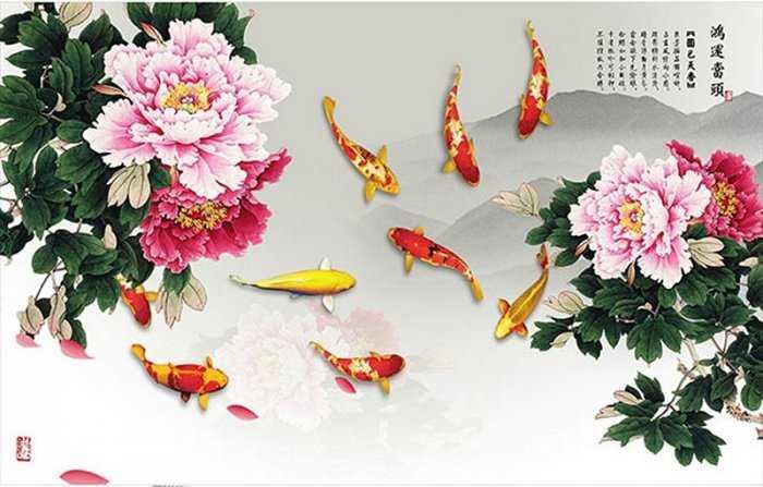 Tranh cá chép - gạch tranh cá chép3