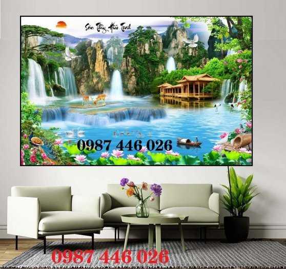 Tranh tường phong cảnh thiên nhiên, gạch trang trí HP024714