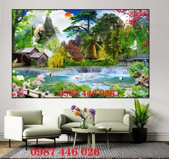 Tranh tường phong cảnh thiên nhiên, gạch trang trí HP024712