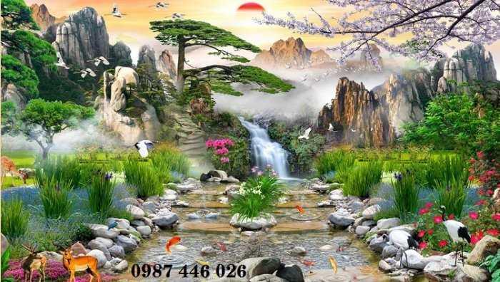 Tranh tường phong cảnh thiên nhiên, gạch trang trí HP024710