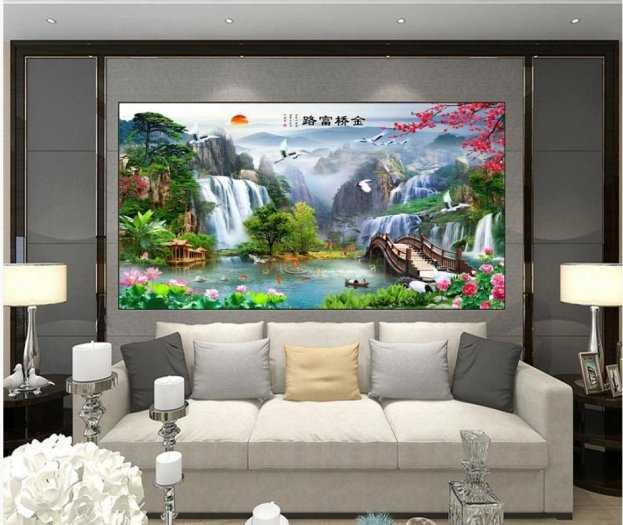 Mẫu tranh gạch 3d phòng khách - VN872