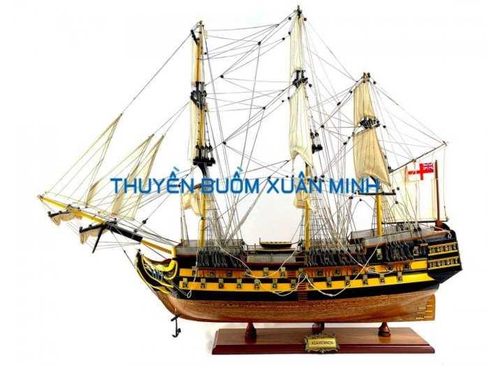 Mô Hình Tàu Chiến Cổ Hàng Xuất Khẩu (Sơn Màu) | Gỗ Căm Xe | Dài 90-100cm8