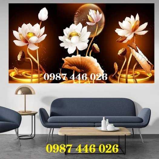 Gạch tranh hoa sen 3d trang  trí tường đẹp HP699412
