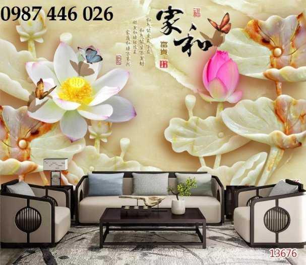 Gạch tranh hoa sen 3d trang  trí tường đẹp HP699411