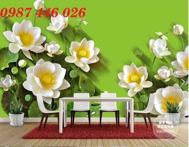 Gạch tranh hoa sen 3d trang  trí tường đẹp HP699410
