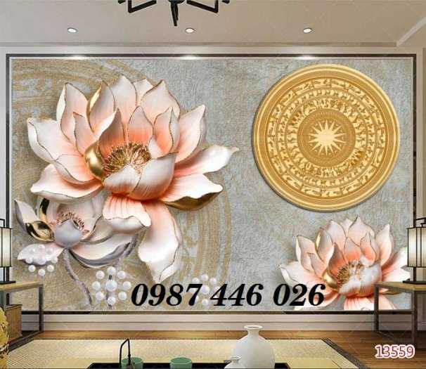 Gạch tranh hoa sen 3d trang  trí tường đẹp HP69949