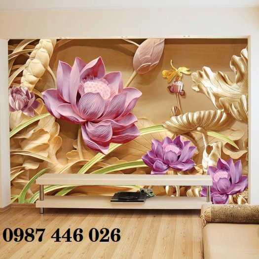 Gạch tranh hoa sen 3d trang  trí tường đẹp HP69948