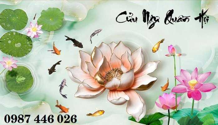 Gạch tranh hoa sen 3d trang  trí tường đẹp HP69947