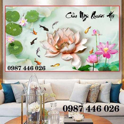 Gạch tranh hoa sen 3d trang  trí tường đẹp HP69946