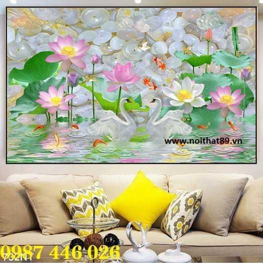 Gạch tranh hoa sen 3d trang  trí tường đẹp HP69945