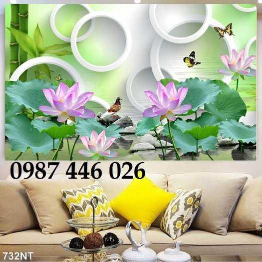 Gạch tranh hoa sen 3d trang  trí tường đẹp HP69944