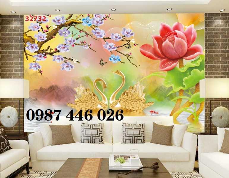 Gạch tranh hoa sen 3d trang  trí tường đẹp HP69943