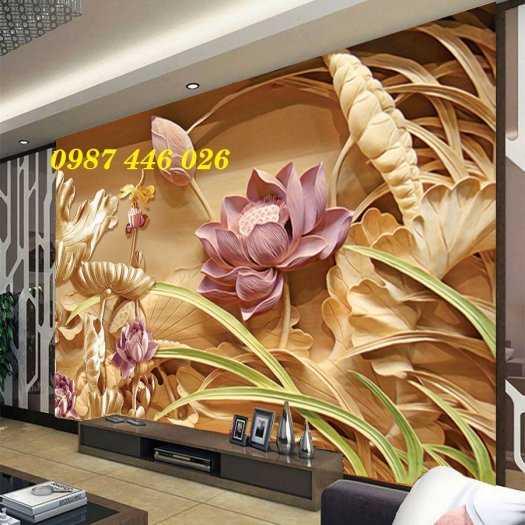 Gạch tranh hoa sen 3d trang  trí tường đẹp HP69942