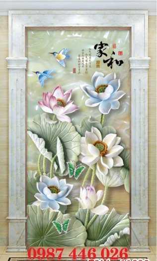 Gạch tranh hoa sen 3d trang  trí tường đẹp HP69941