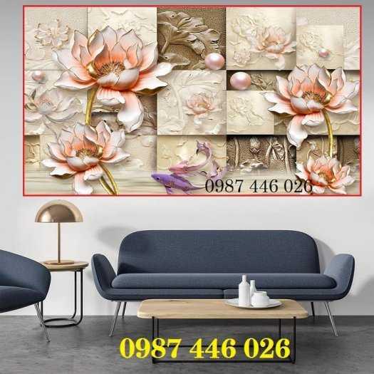 Gạch tranh hoa sen 3d trang  trí tường đẹp HP69940