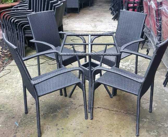 Bàn ghế cafe nhựa giả mây Faso giá rẻ VĐ0452