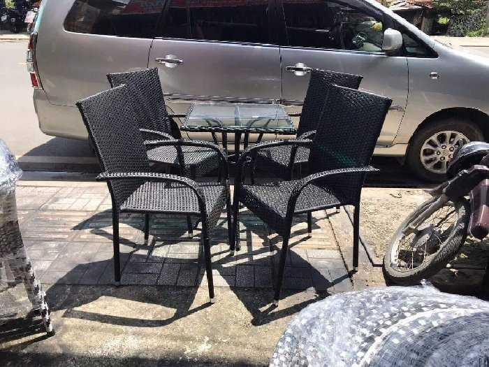 Bộ bàn ghế cafe baso nhựa giả mây giá rẻ