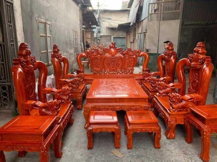 Bộ bàn ghế phòng khách nghê đỉnh tay 14 gỗ hương đá13