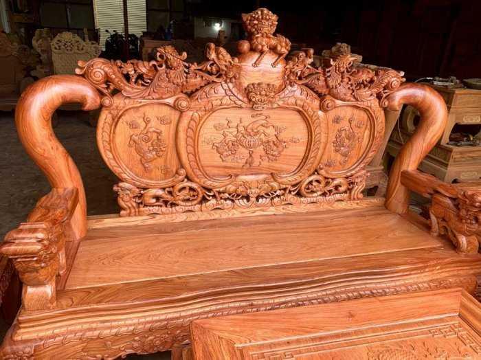 Bộ bàn ghế phòng khách nghê đỉnh tay 14 gỗ hương đá10
