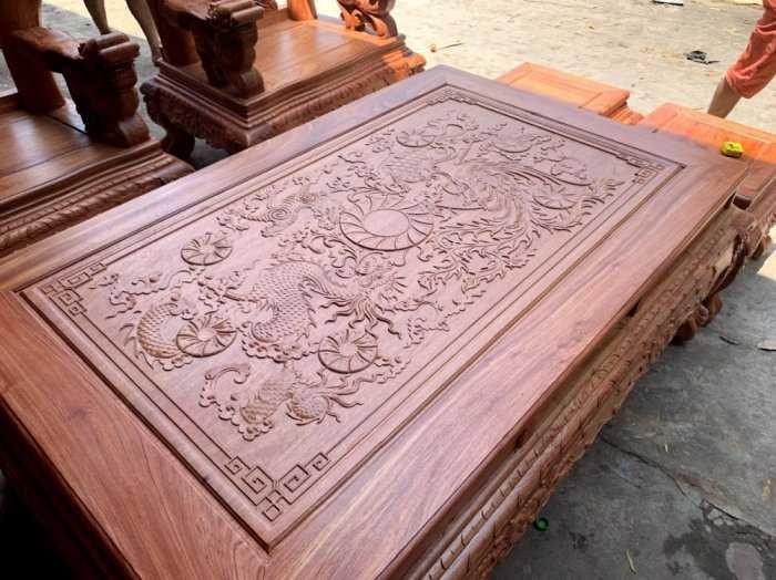 Bộ bàn ghế phòng khách nghê đỉnh tay 14 gỗ hương đá9