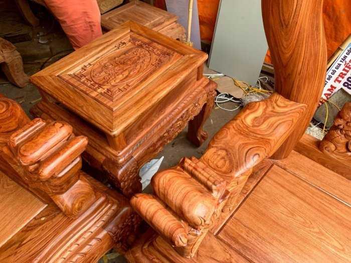 Bộ bàn ghế phòng khách nghê đỉnh tay 14 gỗ hương đá6