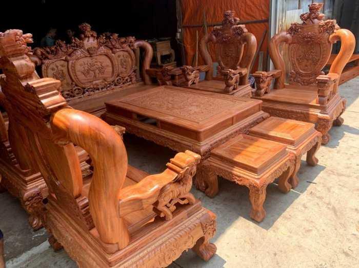 Bộ bàn ghế phòng khách nghê đỉnh tay 14 gỗ hương đá4