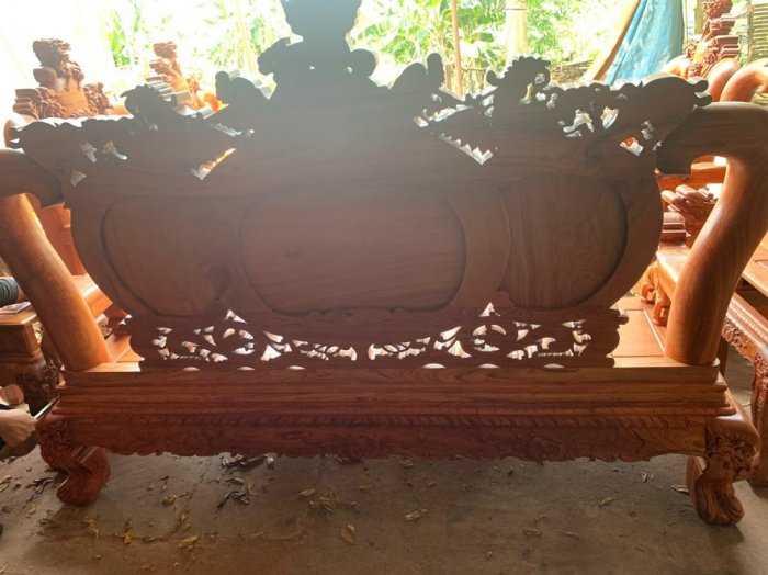 Bộ bàn ghế phòng khách nghê đỉnh tay 14 gỗ hương đá2