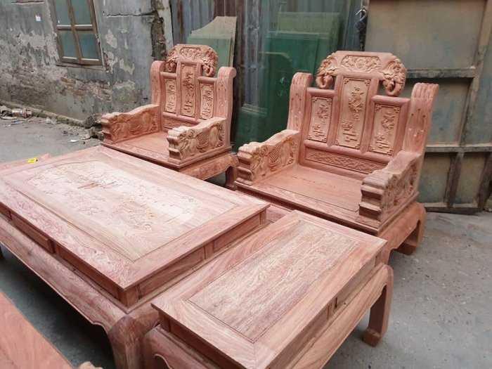Bộ bàn ghế như ý tay voi cả con gỗ hương đá2