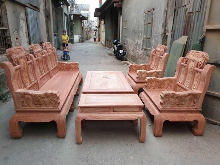 Bộ bàn ghế như ý tay voi cả con gỗ hương đá1