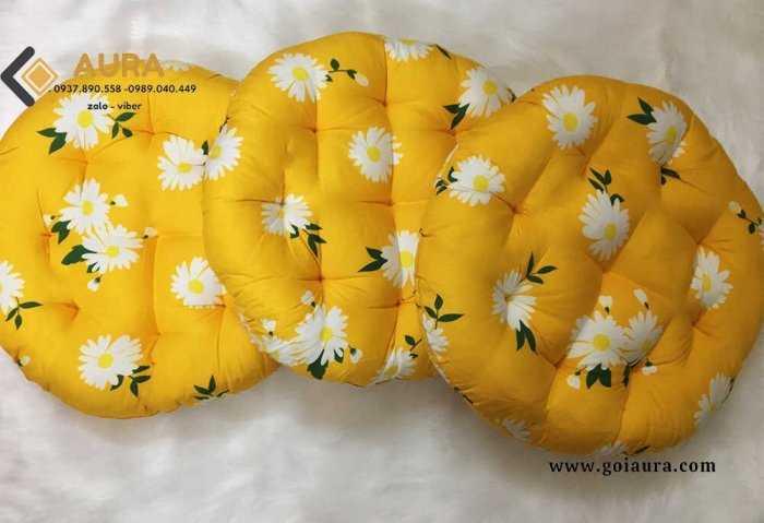 Đệm ngồi bệt hình tròn hoa cúc đường kính 40cm đệm ngồi bệt Aura21