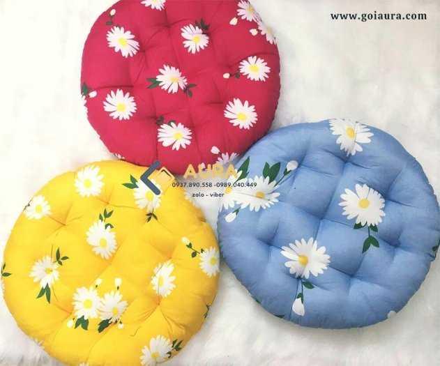 Đệm ngồi bệt hình tròn hoa cúc đường kính 40cm đệm ngồi bệt Aura18