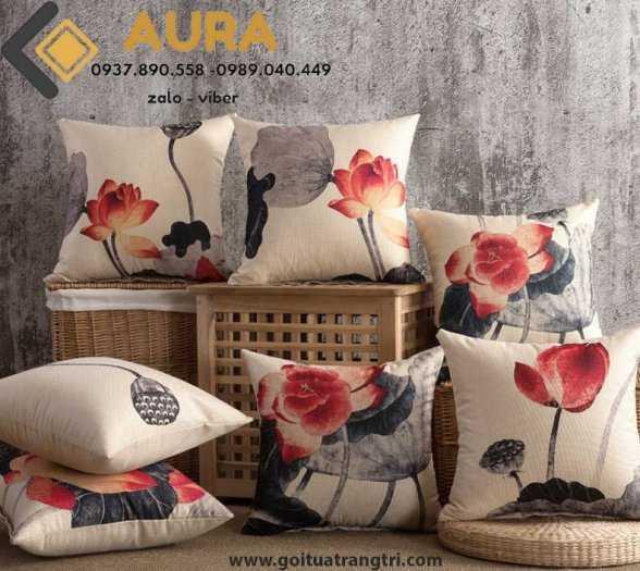 Đệm ngồi bệt hình tròn hoa cúc đường kính 40cm đệm ngồi bệt Aura5