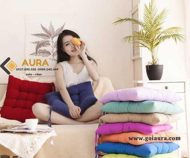 Đệm ngồi bệt hình tròn hoa cúc đường kính 40cm đệm ngồi bệt Aura0