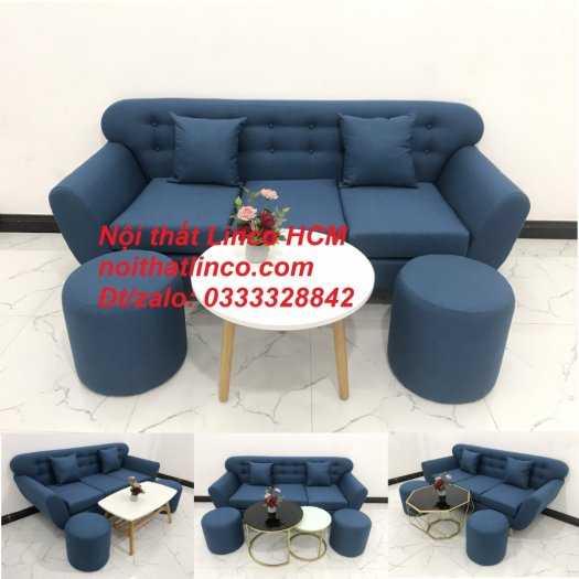 Sofa băng phòng khách, Sofa băng BgTC01 | Sofa băng màu xanh dương, xanh nước biển, xanh da trời dài 1m9 vải bố | Nội thất Linco HCM12